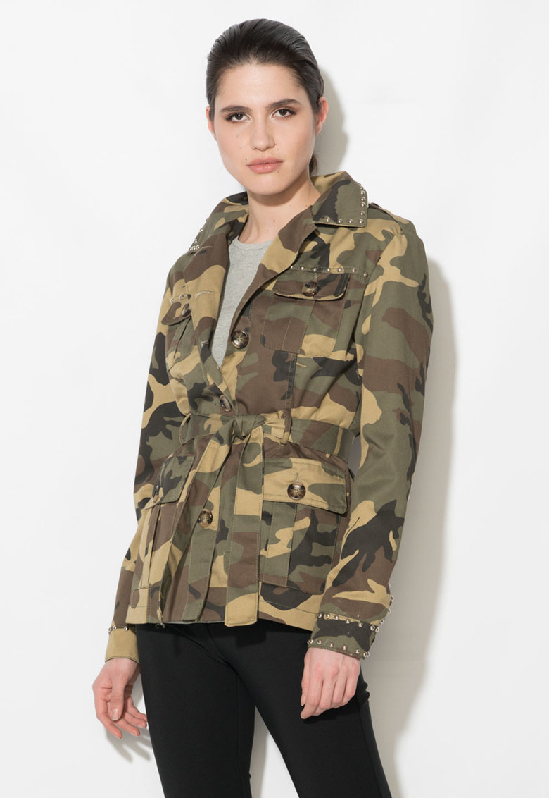 Jacheta militara verde militar cu maro si imprimeu camuflaj