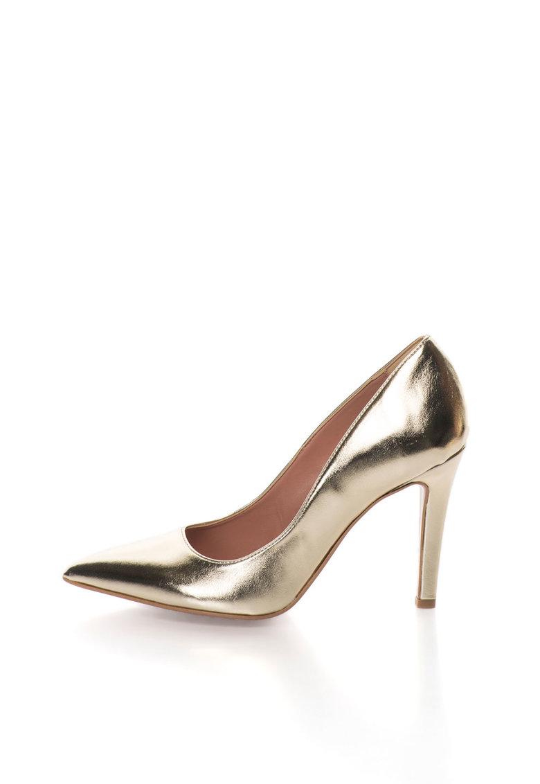Pantofi aurii cu varf ascutit Anne