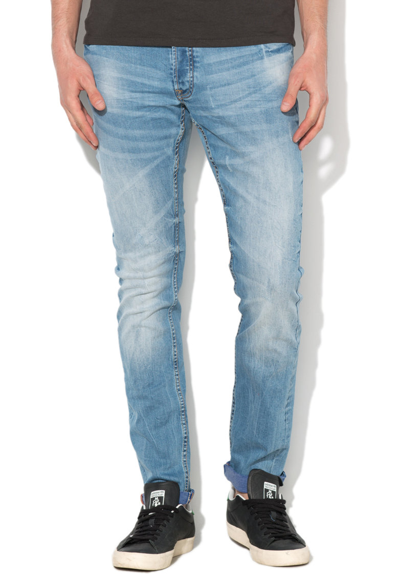 Alcott Jeansi skinny bleu cu aspect decolorat