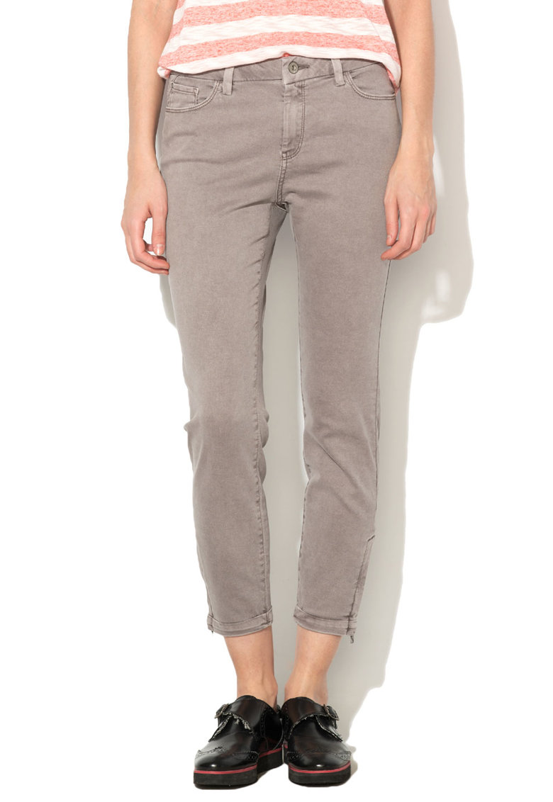 Pantaloni skinny crop gri