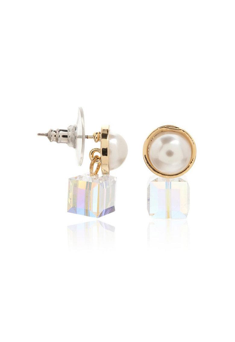 Cercei aurii cu tija cu cristal de sticla si perla sintetica de la M by Maiocci