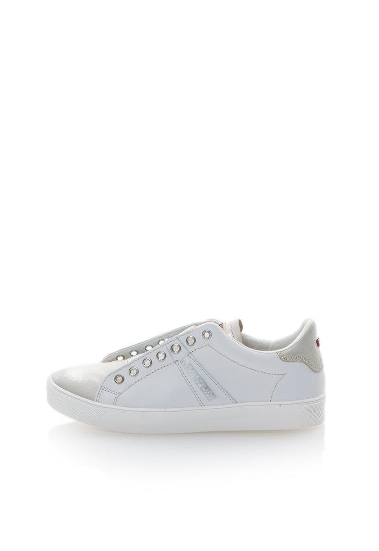 Napapijri Pantofi slip-on alb cu argintiu de piele Minna