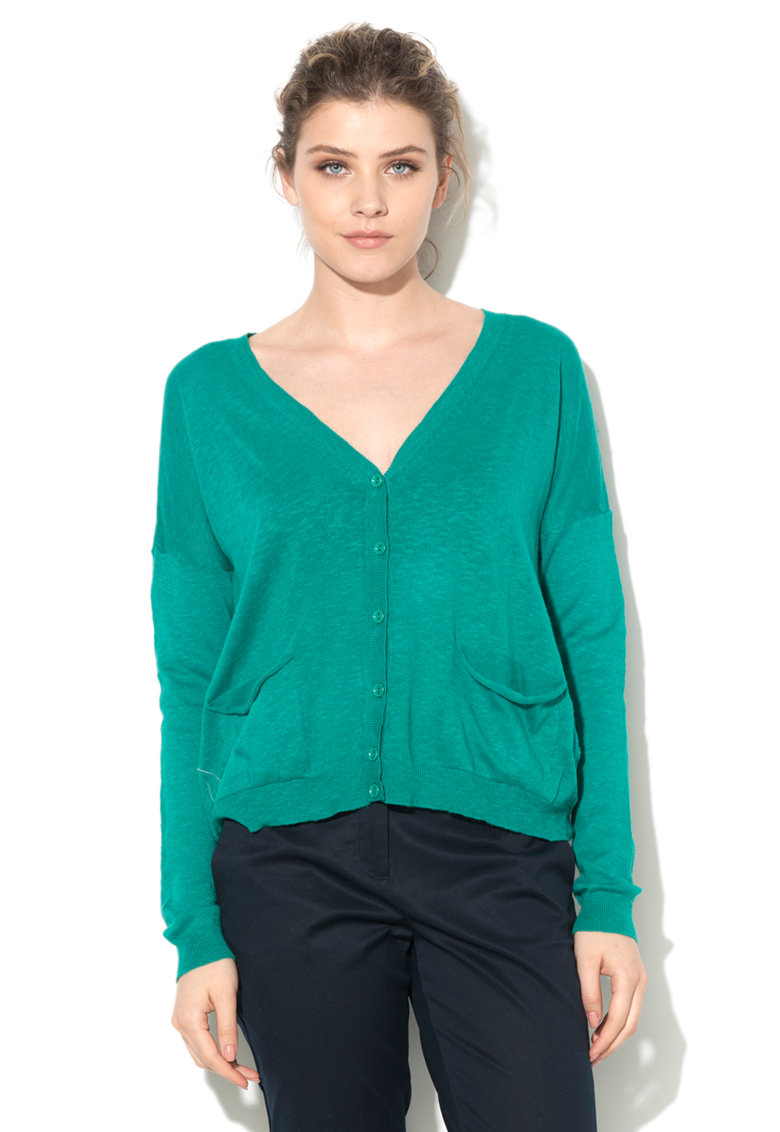 United Colors Of Benetton Cardigan verde smarald tricotat fin cu buzunare