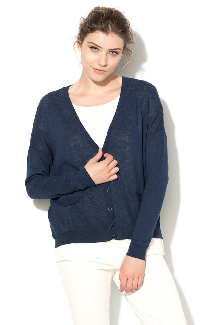 United Colors Of Benetton Cardigan bleumarin tricotat fin cu buzunare