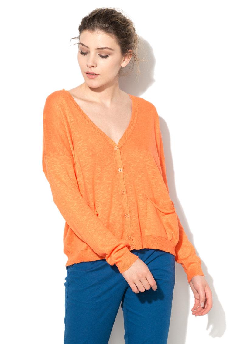 United Colors Of Benetton Cardigan oranj aprins tricotat fin cu buzunare