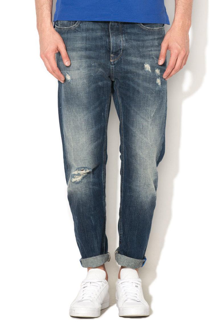 Jeansi regular fit albastri cu aspect uzat de la United Colors Of Benetton