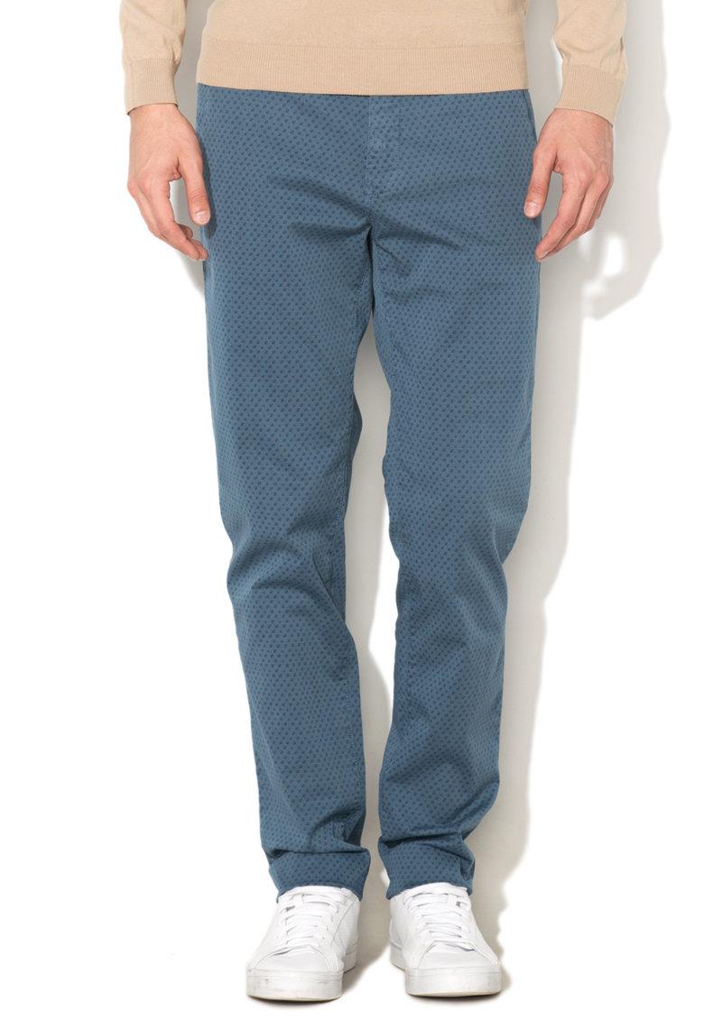 United Colors Of Benetton Pantaloni chino slim fit albastru mineral cu model