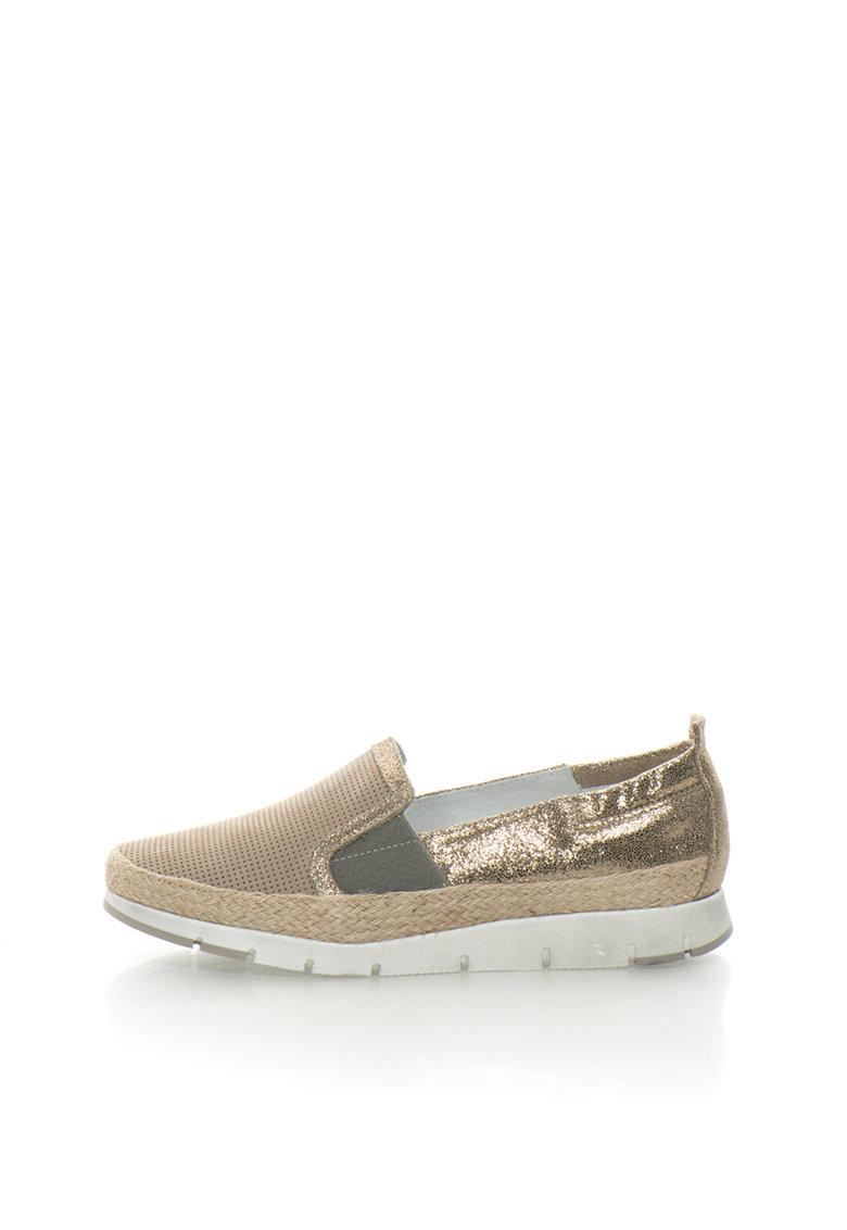 Zee Lane Pantofi slip-on maro deschis cu auriu de piele