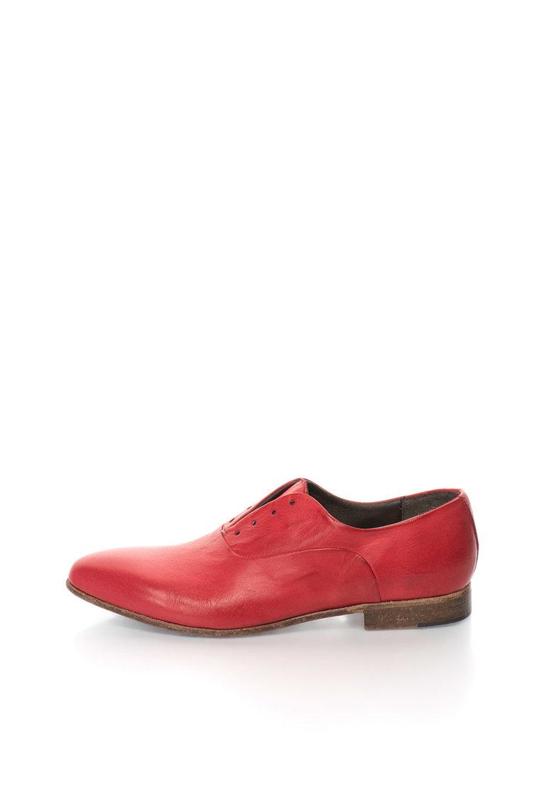 Zee Lane Collection Pantofi derby rosii de piele fara sireturi Papua