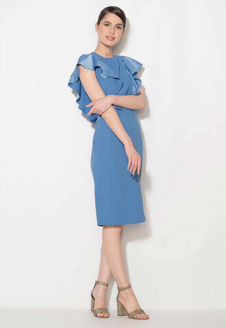 Zee Lane Collection Rochie midi albastru pastel cu volane