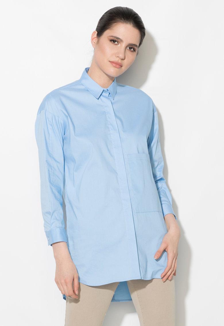 Zee Lane Denim Camasa albastru pastel cu buzunar pe piept