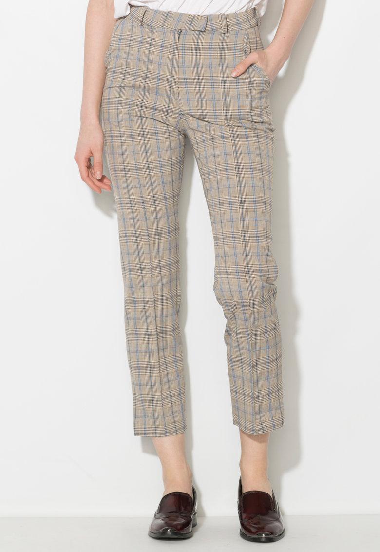 Pantaloni in nuante de gri cu albastru in carouri