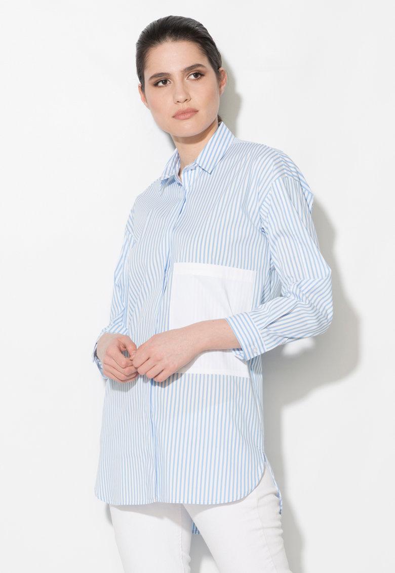 Camasa albastru cu alb in dungi