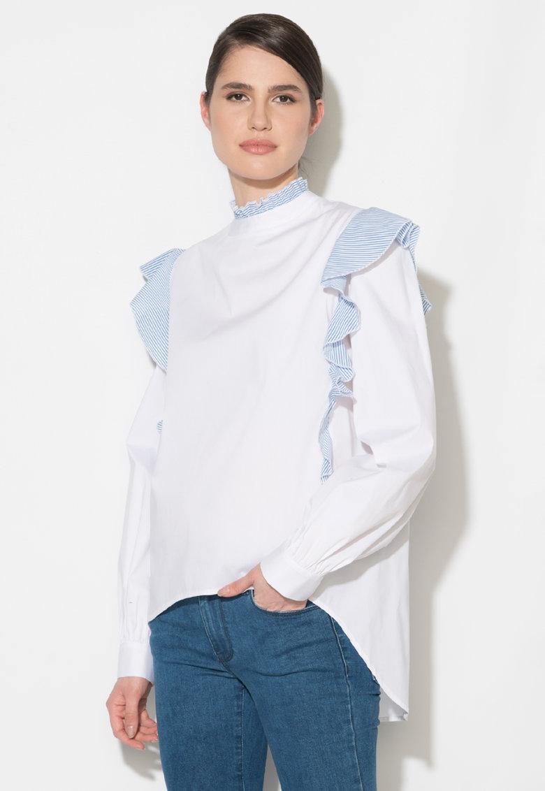 Camasa alb cu albastru in dungi si cu volane