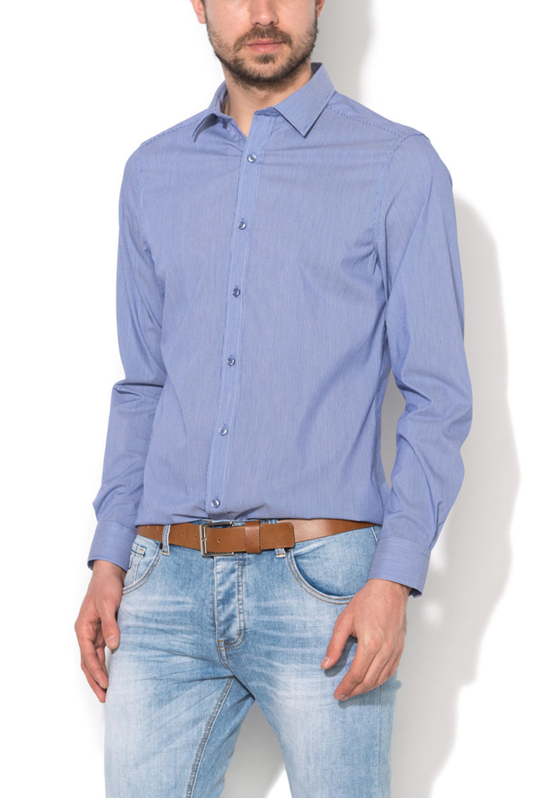 Zee Lane Denim Camasa slim fit albastru cu alb in dungi
