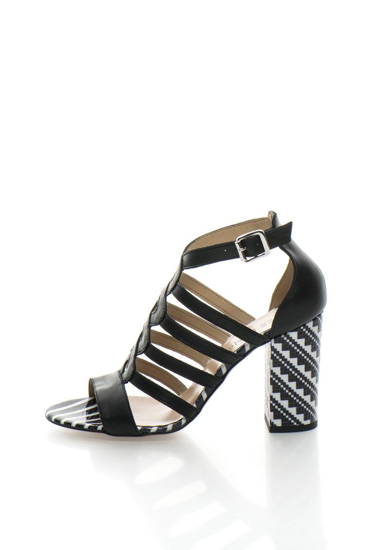 Sandale negre de piele cu toc contrastant