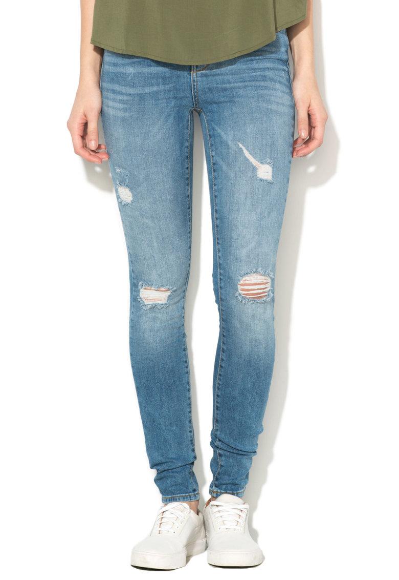 Vero Moda Jeansi albastri super slim fit cu rupturi decorative Seven