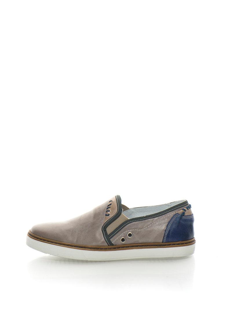 Zee Lane Pantofi slip-on gri cu albastru de piele Entex