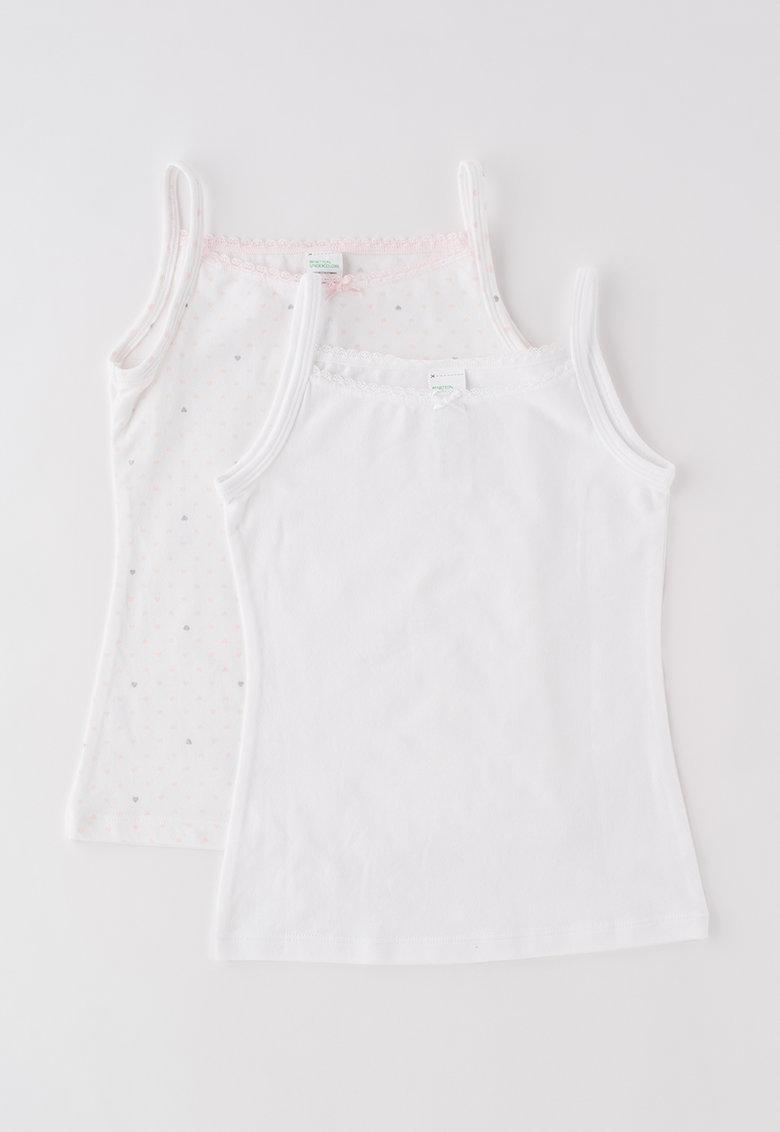 Undercolors of Benetton Set de topuri alb cu roz cu desene – 2 piese