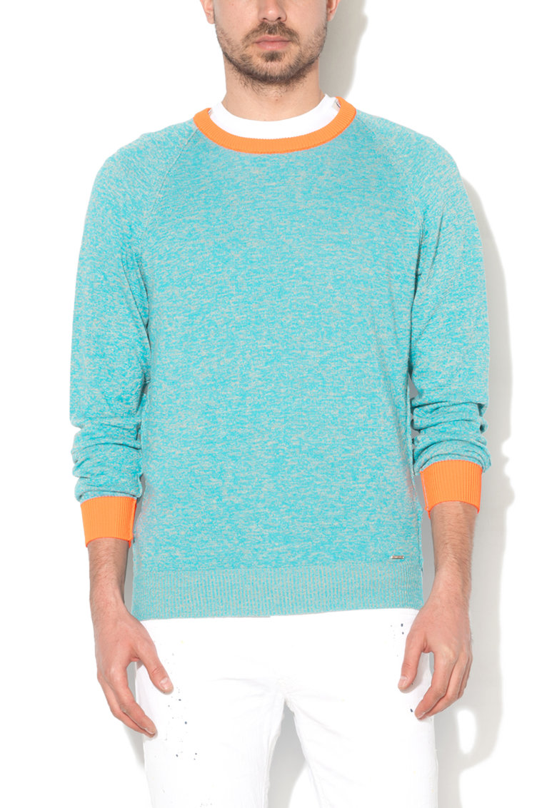 Diesel Bluza turcoaz melange cu garnituri corai neon Collin