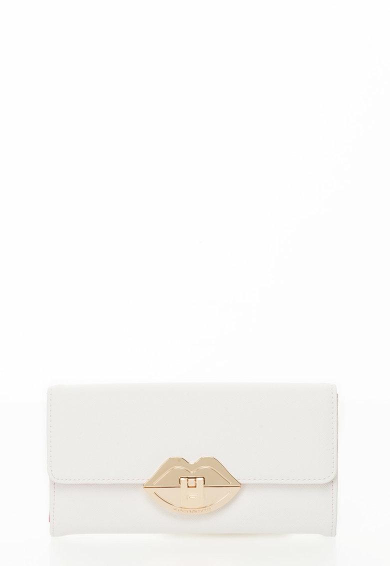 Fornarina Portofel alb cu textura saffiano si inchidere aurie
