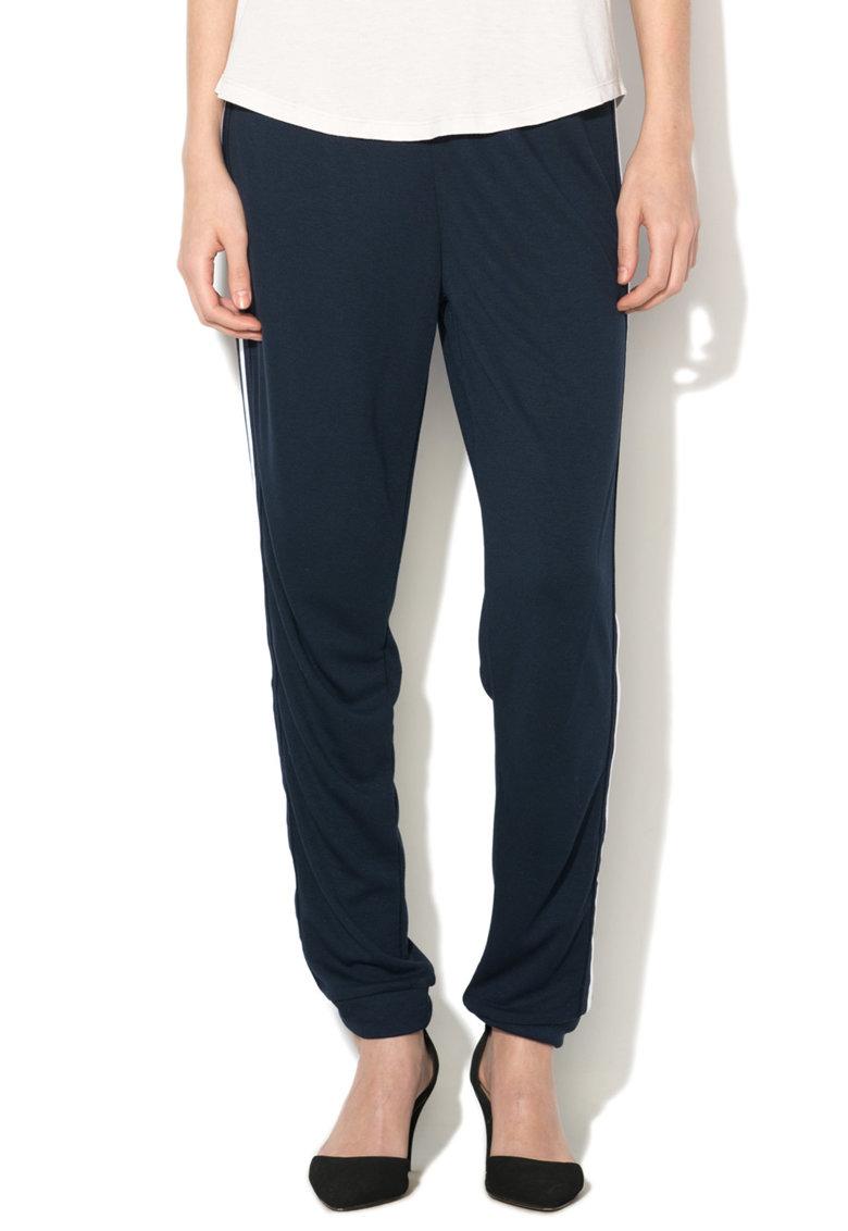 Esprit Pantaloni bleumarin cu garnituri tubulare albe
