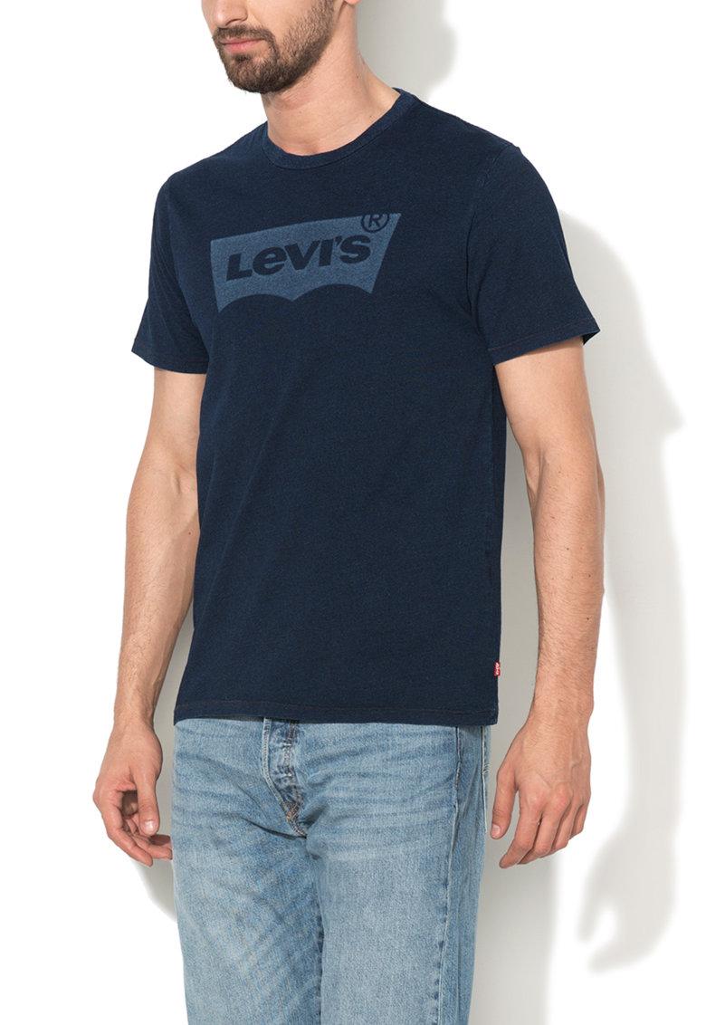 Levis Tricou albastru indigo melange cu imprimeu logo