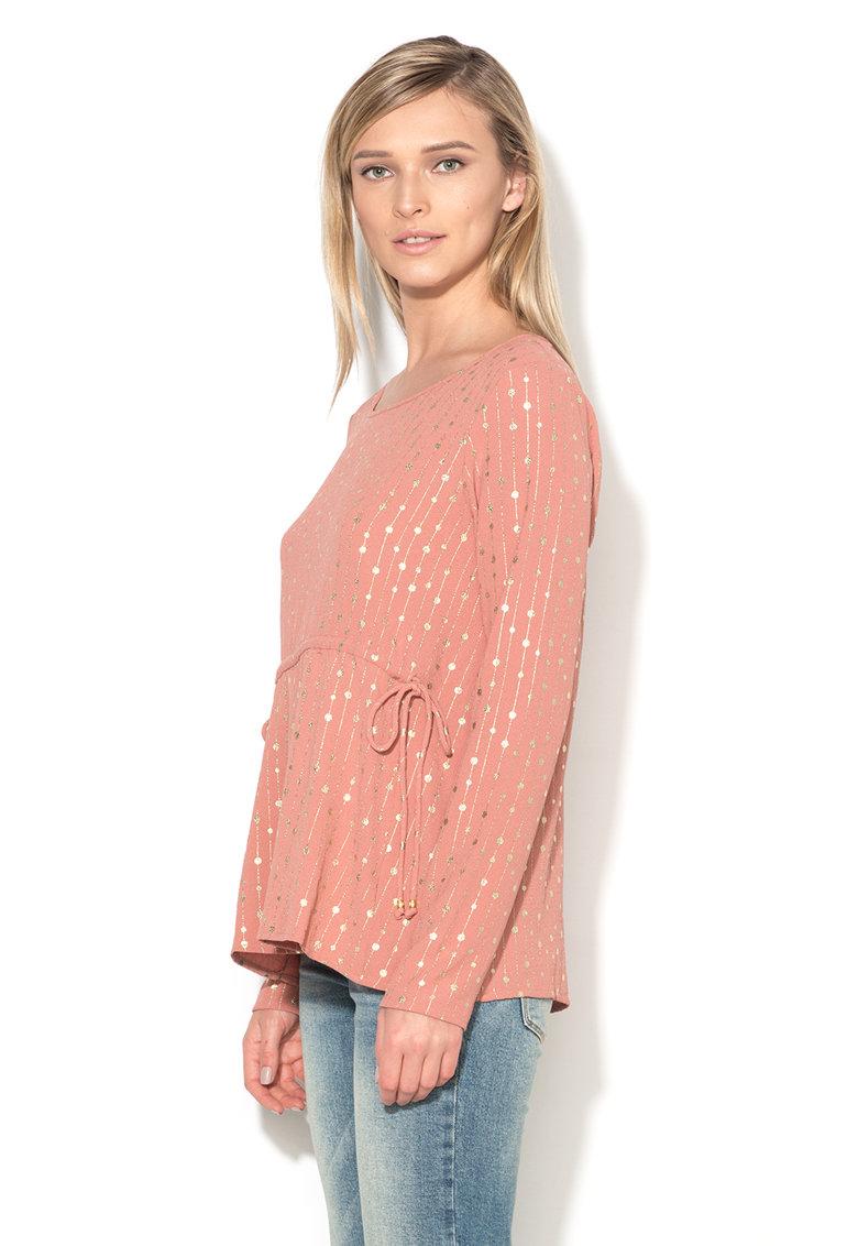 Bluza roz prafuit cu imprimeu auriu Kitten