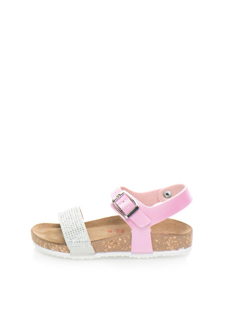 Sandale roz garoafa si gri cu brant anatomic de la Zee Lane