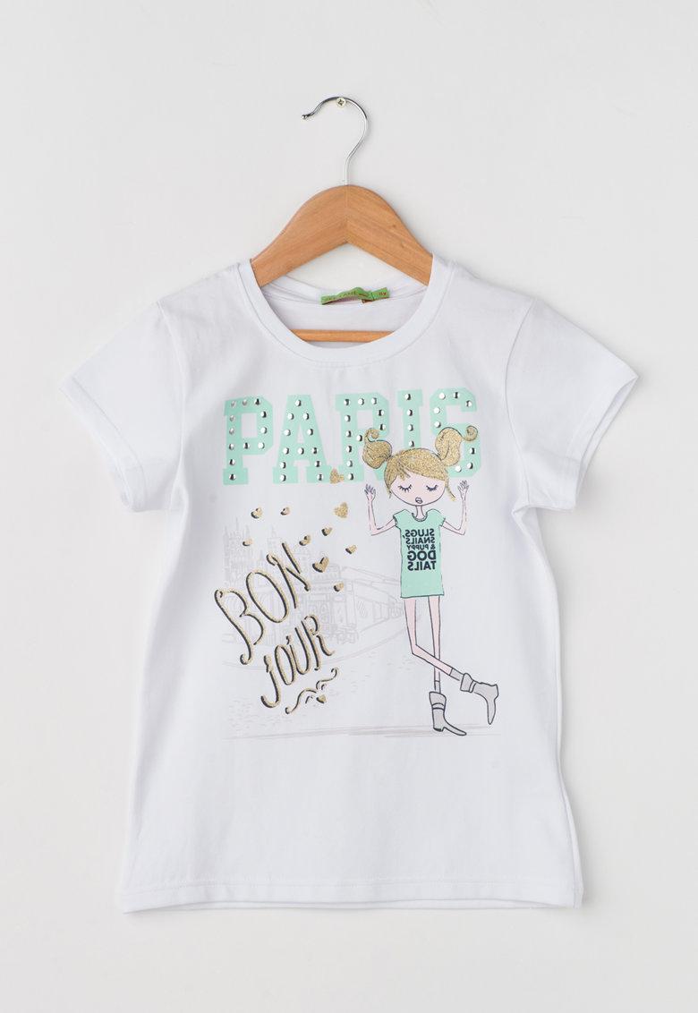 Zee Lane Kids Tricou alb cu imprimeu frontal stralucitor