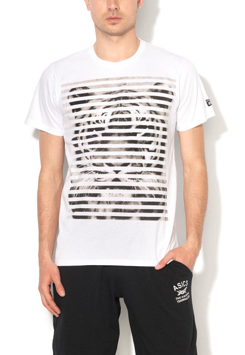 Onitsuka Tiger Tricou alb cu maro si imprimeu grafic