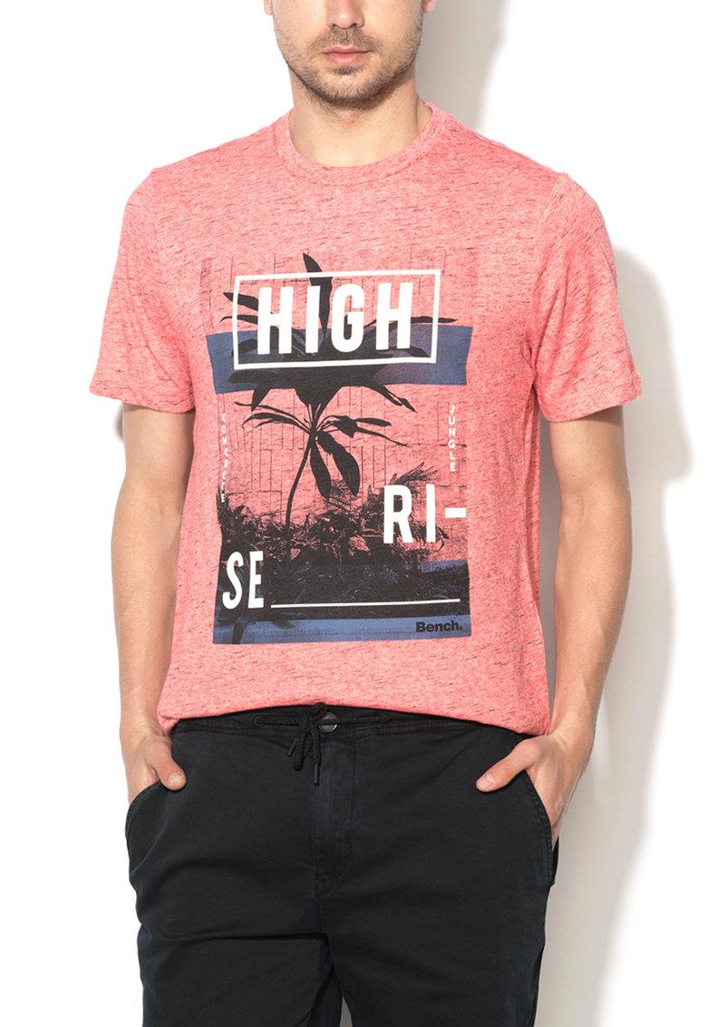 Bench Tricou rosu stins melange si negru cu imprimeu