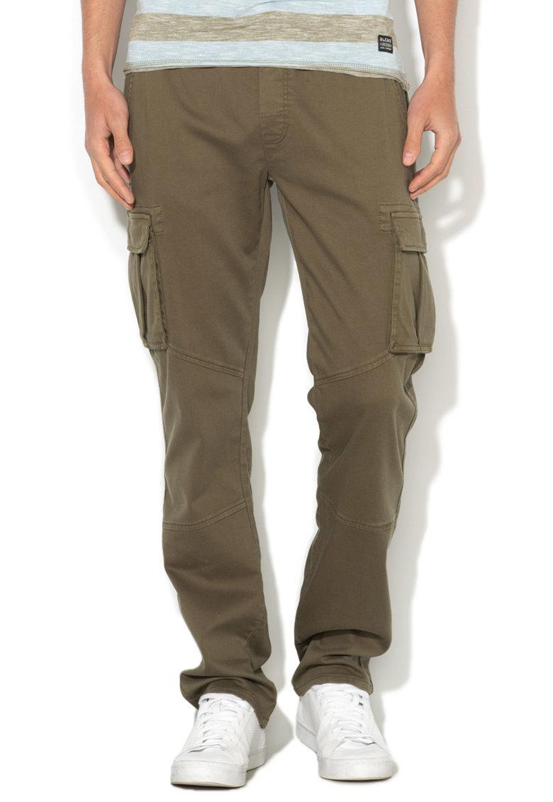 BLEND Pantaloni cargo verde oliv cu snur pentru ajustare