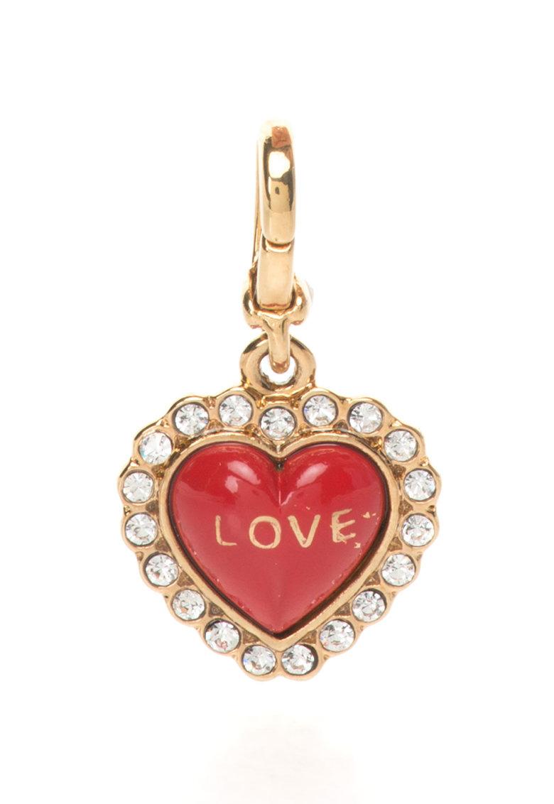 Juicy Couture Pandantiv auriu in forma de inima cu strasuri