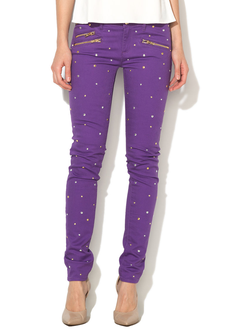 Juicy Couture Jeansi conici violet cu tinte