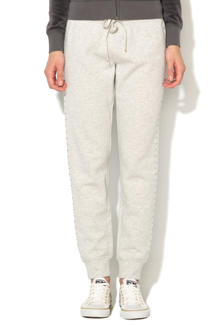 Pantaloni sport slim fit gri melange