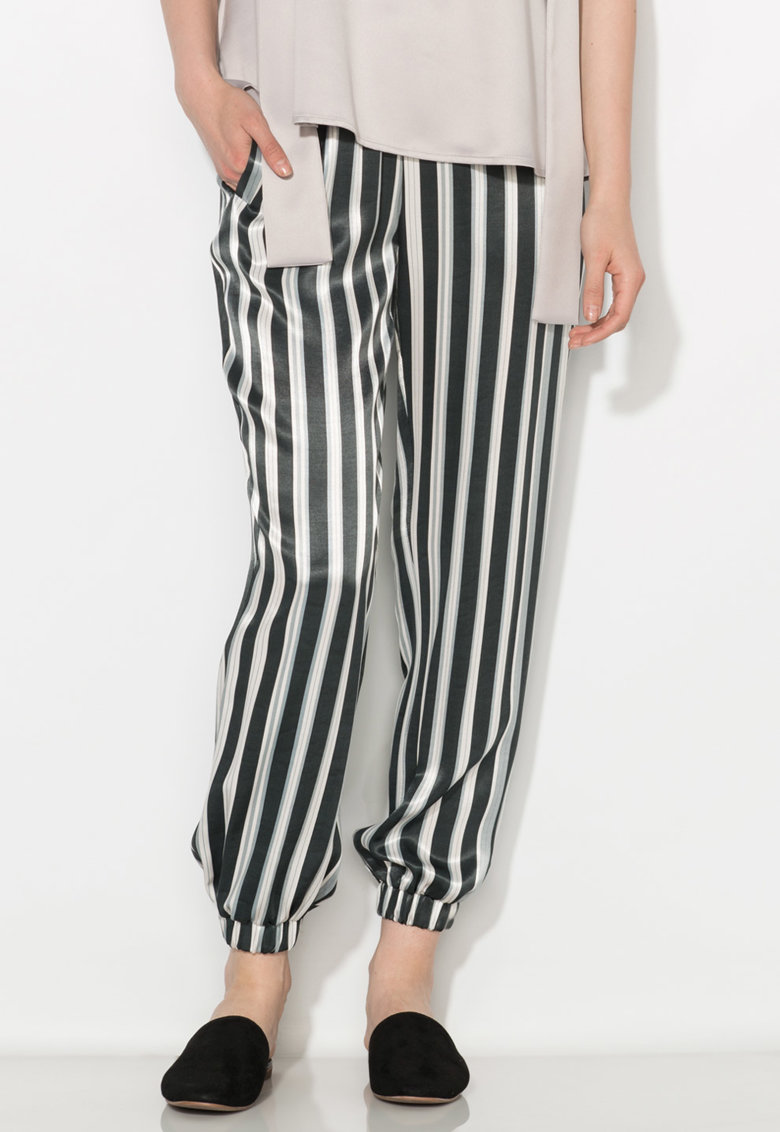Pantaloni matasosi negru cu alb in dungi Zee Lane Collection