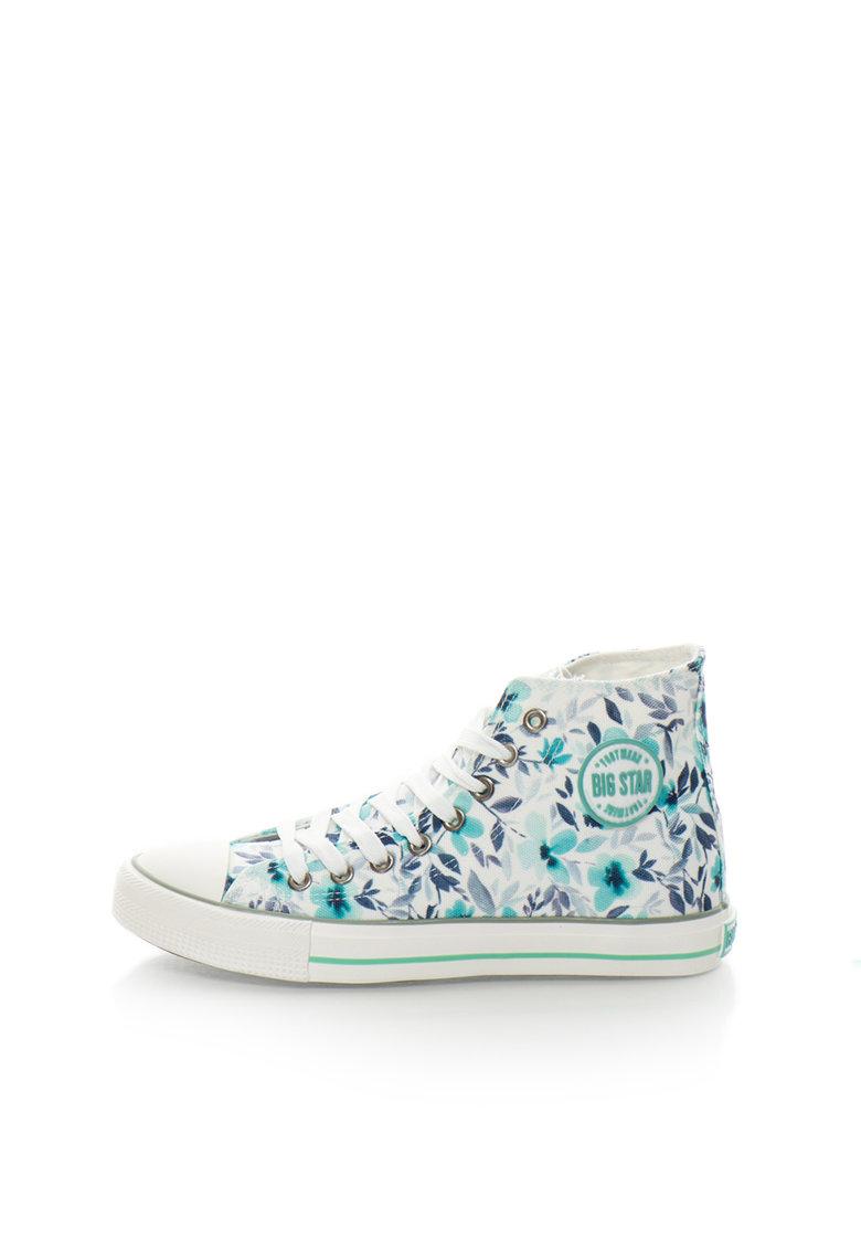 Big Star Tenisi inalti albi cu model floral albastru si verde