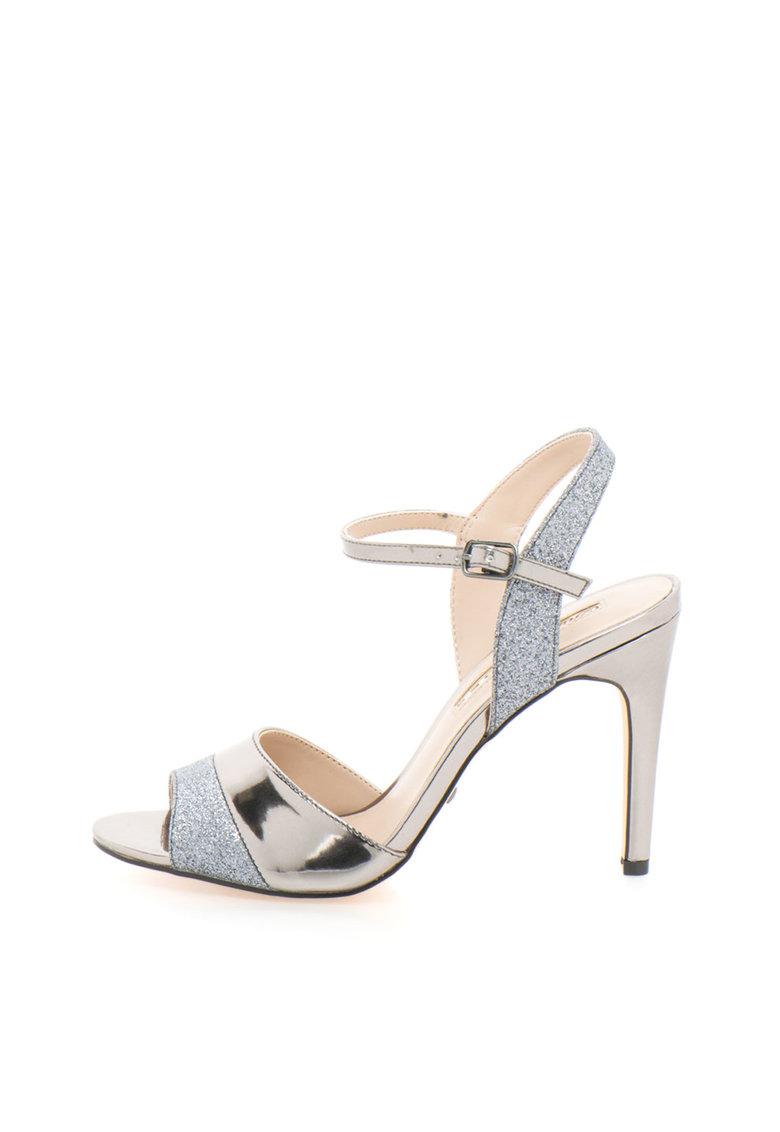 Sandale argintiu inchis cu particule stralucitoare