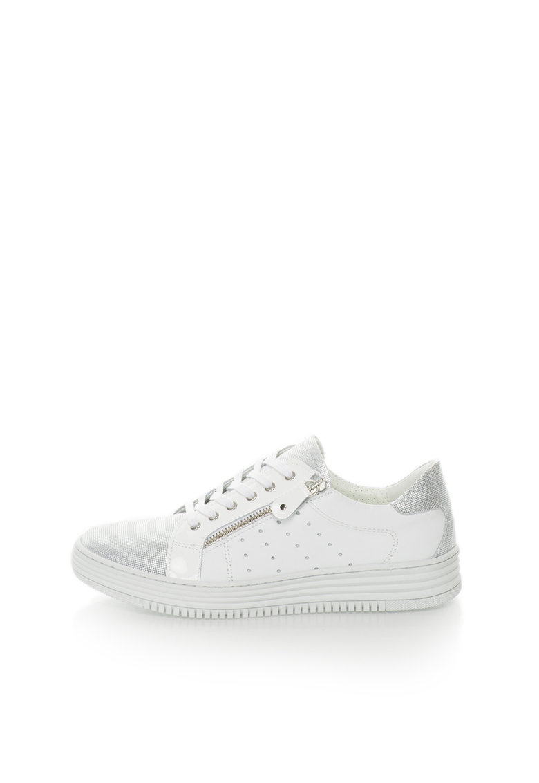 Bullboxer Pantofi sport albi de piele cu insertii argintii