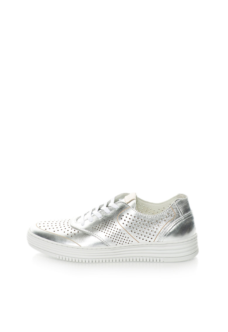 Bullboxer Pantofi sport argintii de piele cu detalii perforate