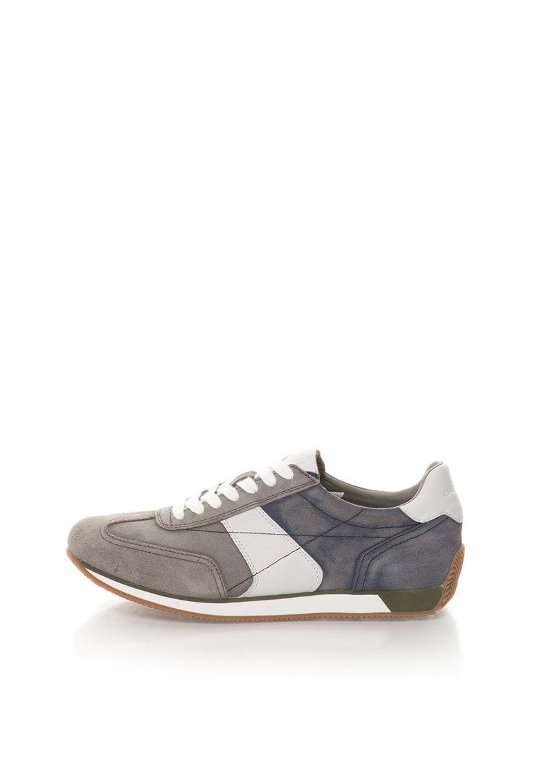 Geox Pantofi sport gri cu albastru de piele intoarsa Vinto