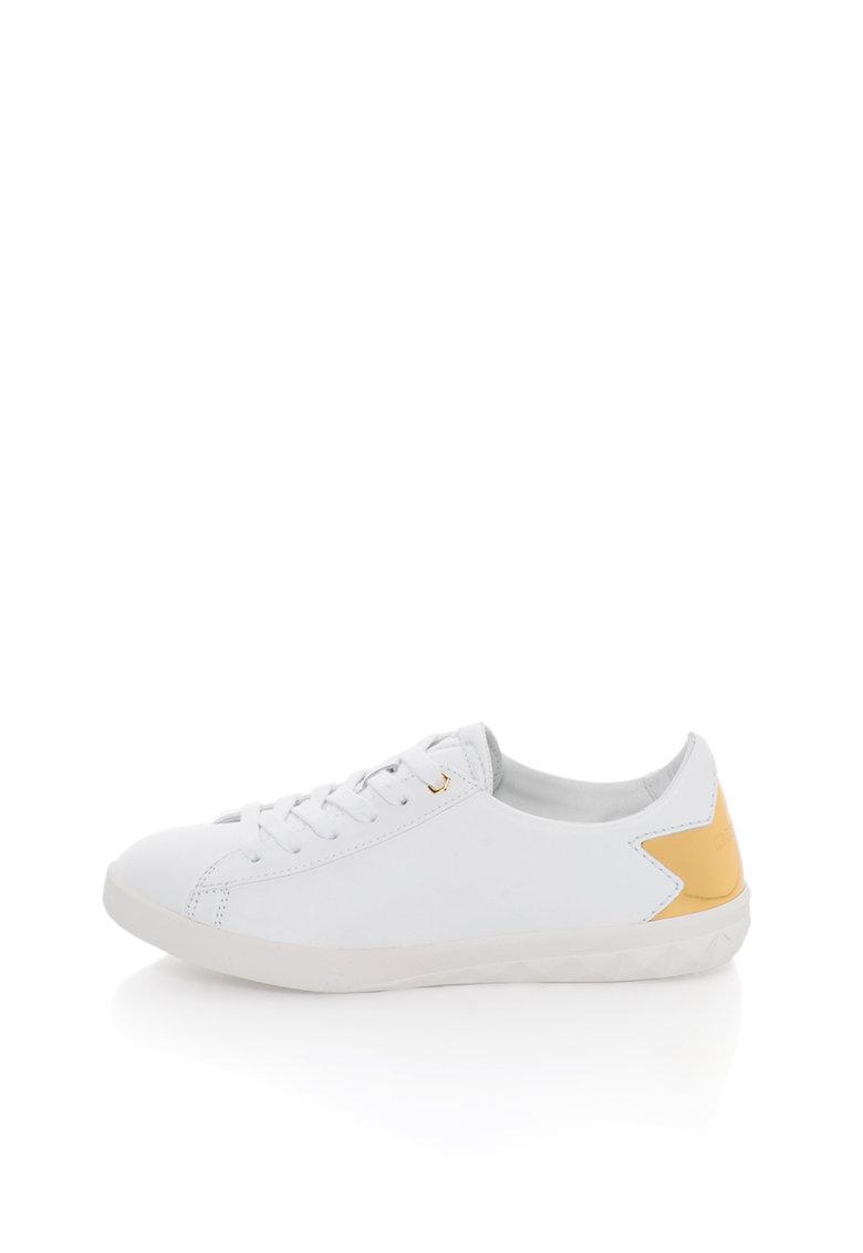 Diesel Pantofi sport albi de piele cu garnituri aurii S-Olstice