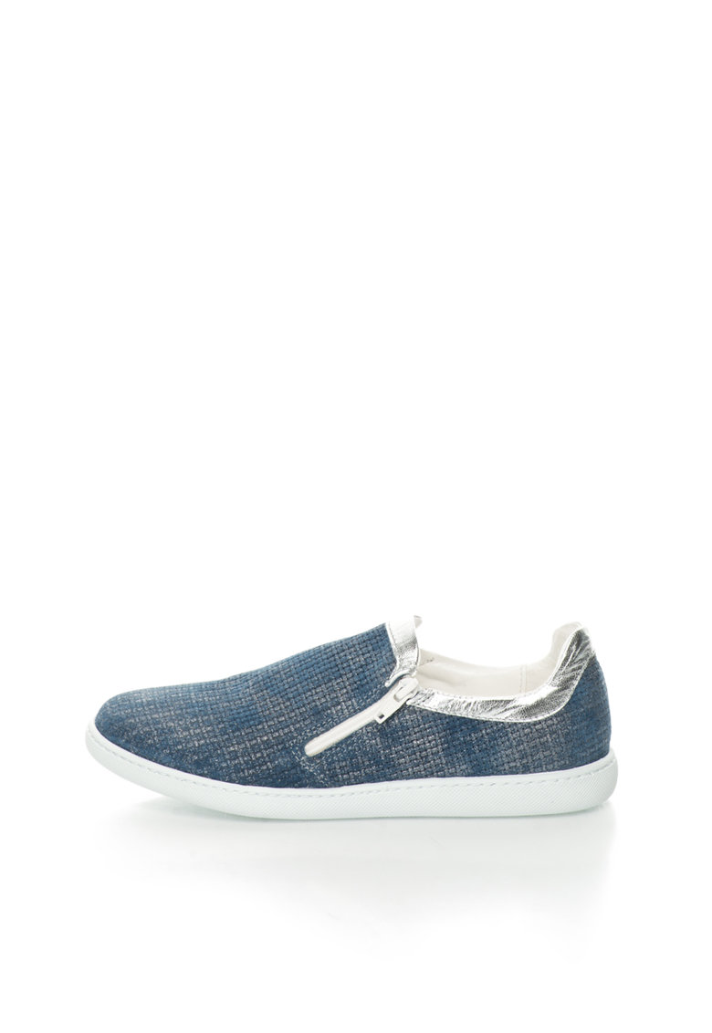 Oakoui Pantofi slip-on albastru inchis stralucitori de piele
