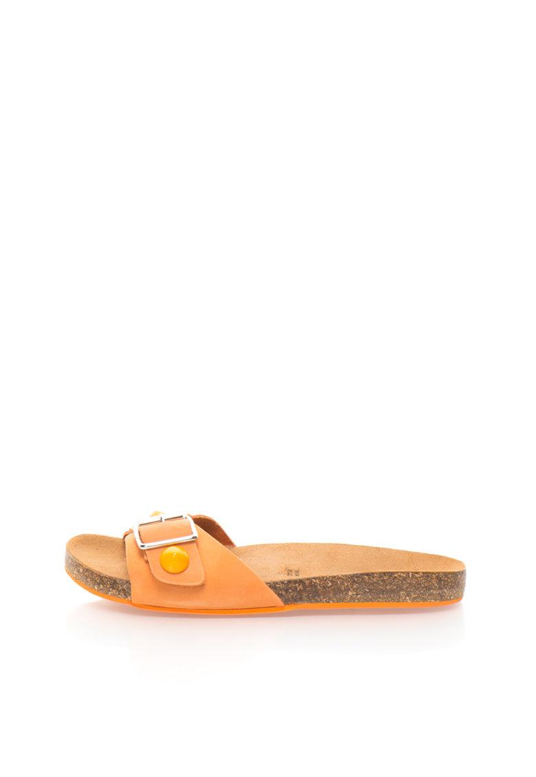 Papuci oranj de piele nabuc