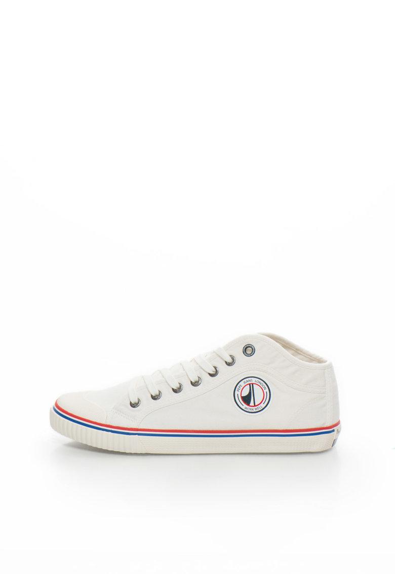 Pepe Jeans London Pantofi sport mid-high alb unt de panza Industry