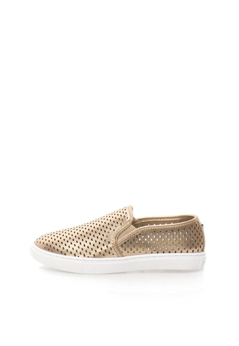 Pantofi slip-on aurii cu perforatii Elouise