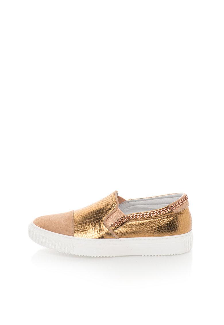 Zee Lane Pantofi slip-on roz prafuit cu auriu de piele si piele intoarsa