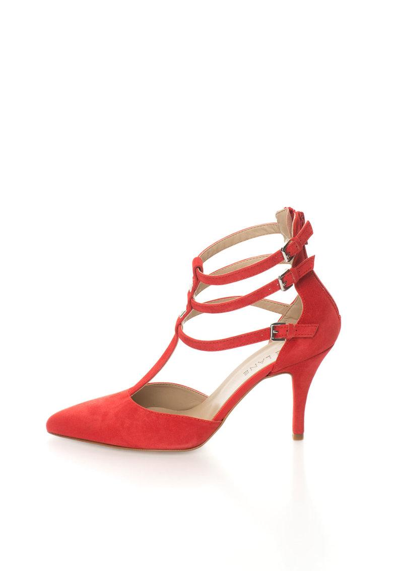 Pantofi rosu vermilion de piele intoarsa cu varf ascutit de la Zee Lane