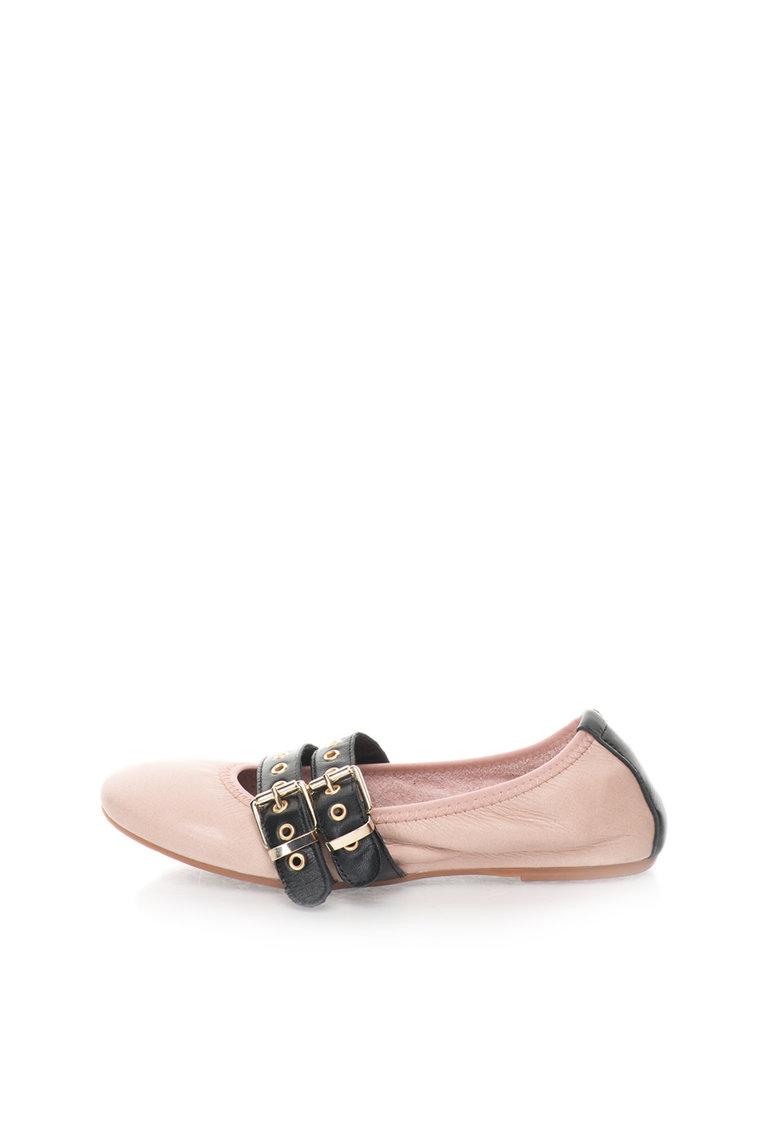 Zee Lane Balerini roz prafuit de piele cu garnituri negre Milva